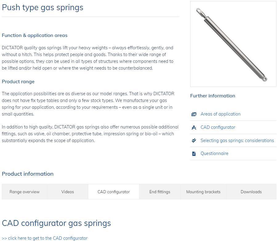 Ny CAD-konfiguration til gasfjedre på hjemmesiden